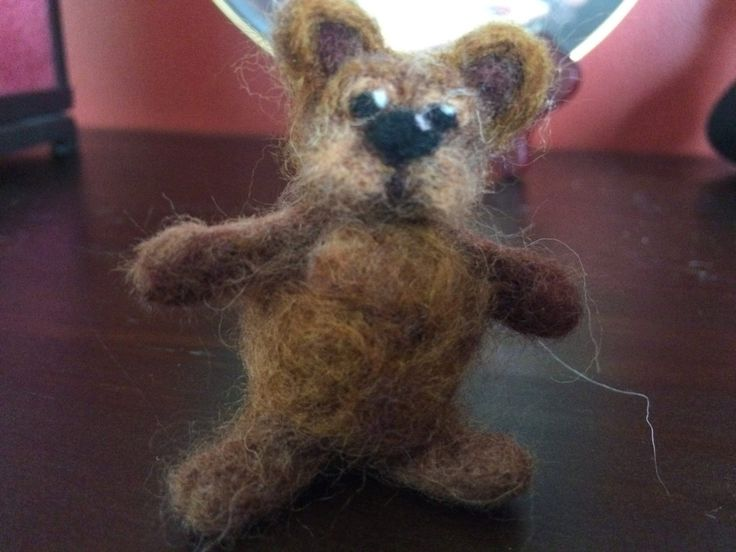 Tiny needle felted Ewoke type miniature brown bear, 2 inches, 5 1/2 cm by artbythebeth on Etsy