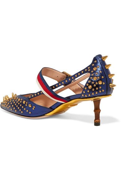 Gucci - Bamboo-trimmed Studded Metallic Leather Pumps - Navy - IT41.5