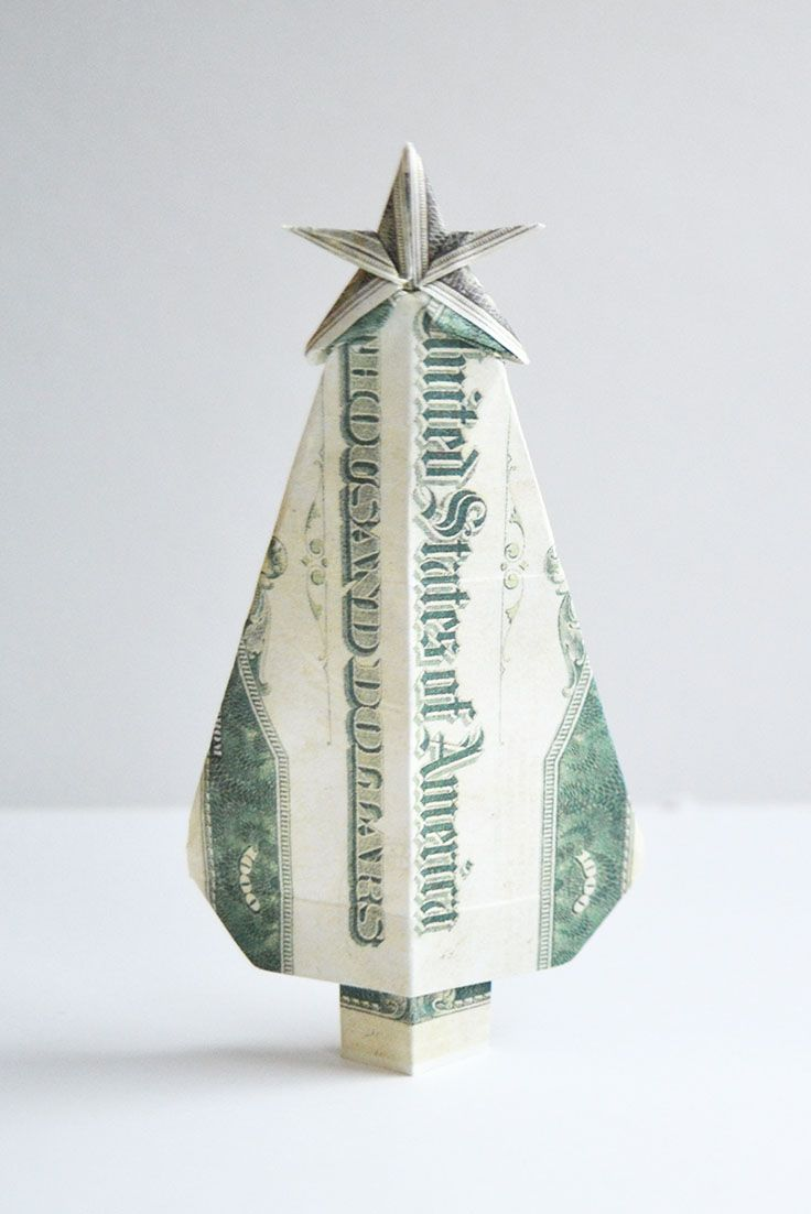 Money Origami CHRISTMAS TREE - Dollar Bill Art - Made with real ... | 1102x736