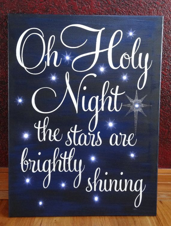 Oh Holy Night the stars are brightly shining~hand painted Christmas canvas art with lights