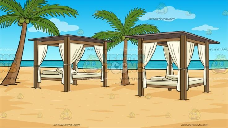Luxury Cabanas On A Beach Background :  Two cabanas with elegant brown wooden poles and flat roofing white linen curtains a bed with off white mattress and throw pillows spaced appropriately on the beach sands beside two palm trees overlooking a beautiful turquoise sea