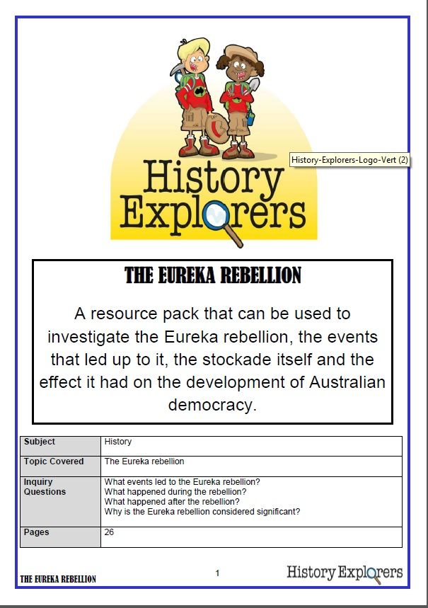 Resource Pack: The Eureka Rebellion. This resource pack contains everything you need to explore the Eureka Rebellion. In particular it investigates the following inquiries: What events led to the Eureka rebellion? What happened during the rebellion? What happened after the rebellion? Why is the Eureka rebellion considered significant?. The pack includes a four page article, background information, activity suggestions and various templates and graphic organisers.