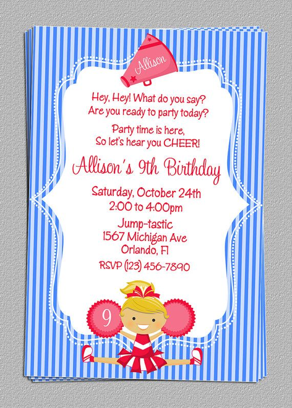 105 best images about Cheerleader Party Ideas – Cheerleading Party Invitations