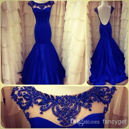 Discount Hot Selling Blue Beaded High Cap Sleeves Backless Long Prom Dresses 2014 Mermaid Floor Length Formal Dresses Online with $138.22/Piece | DHgate