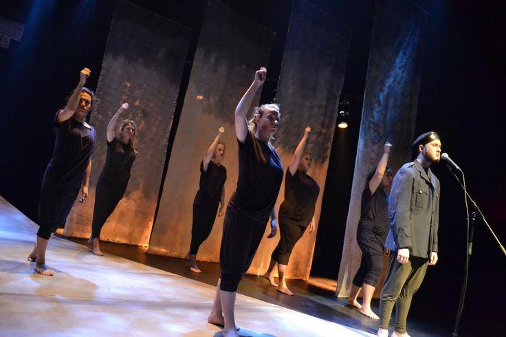 The ensemble cast of #Trojan Women at #Douglas College. Photo by Krista Graham. An excellent student production.