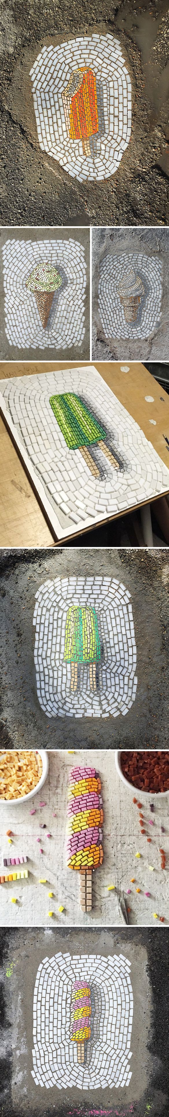 jim bachor - glass & marble mosaics... in potholes! #icecream