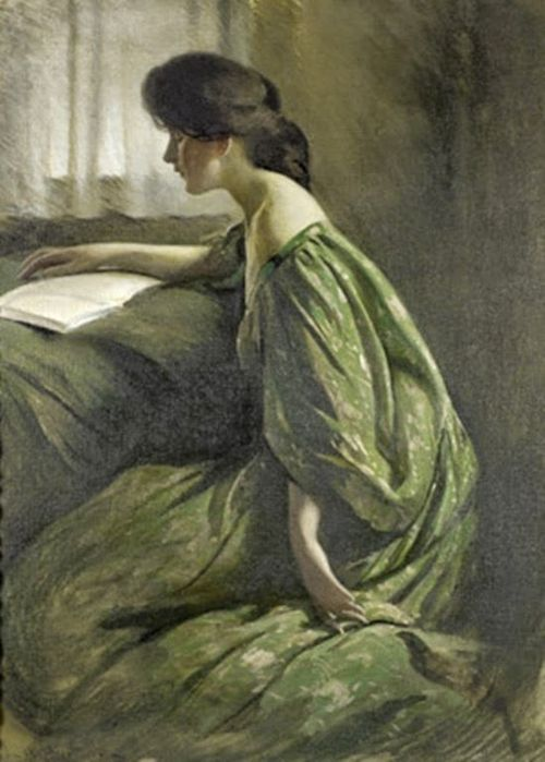A Quiet Hour (c.1901). John White Alexander (American, 1856-1915). Oil on canvas. Pennsylvania Academy of the Fine Arts. There is so little tension in the woman's body she resembles the drapery that covers her. The painting might be used to show how ill-suited women are for study. The woman is dozing over her book, eyes closed, one arm lying languidly at her side, the other falling over the open book, which is, suggestively, blank.