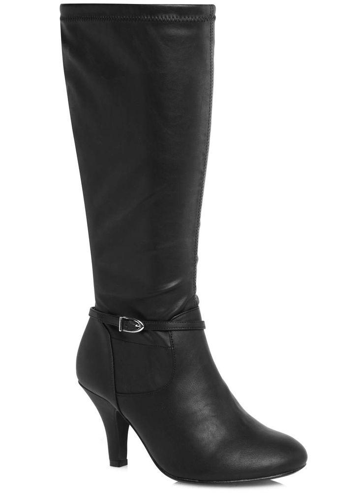 Evans Black Stretch Formal Long Boots