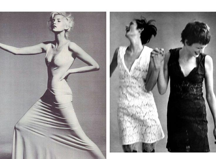 1996 Надя Ауэрманн, фото Ирвинга Пенна, июль 1996 года;  и Стелла Теннант и Триш Гофф, фото Стивена Майзела для американского Vogue, январь 1996 года