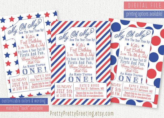 Patriotic 4th Of July Or Memorial Day Birthday Invitation