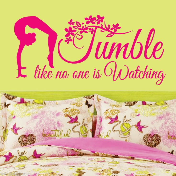 TUMBLE Gymnastics GIRLS Back Flip Vinyl Wall Decor Mural Quote Decal Saying #URGonnaLoveTheseDecals