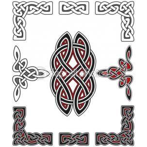Conjunto de elementos de diseño celta