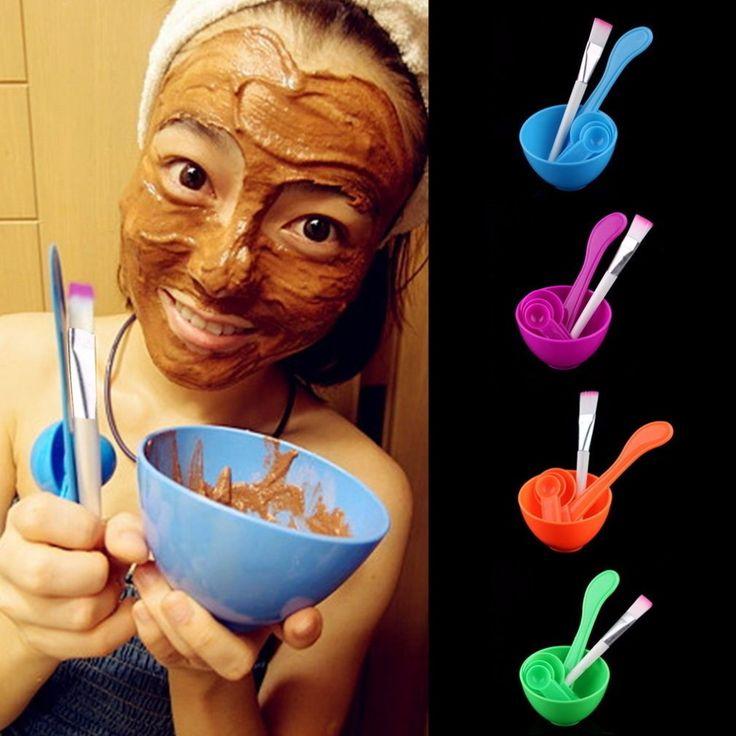 4 in 1 vrouwen lady beauty girls make diy gezichtsmasker Mengkom Borstel Lepel Stok Gezichtsverzorging Make Up Cosmetische Tool Set