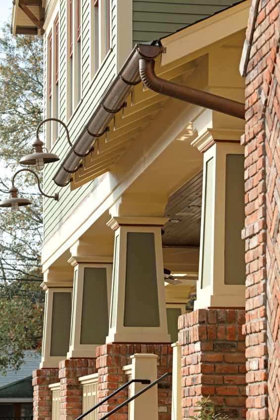 Arts and Crafts - The beautifully trimmed columns highlight the amazing architecture of the home, and the patina stained outdoor lights and gutters will eventually turn to a dark rusted copper color that will age gracefully without physical deterioration.