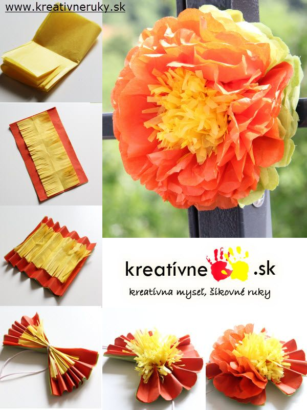 Z hodvábneho papiera si môžete vyrobiť aj takýto kvet a použiť ako ozdobu na terasu alebo balkón.