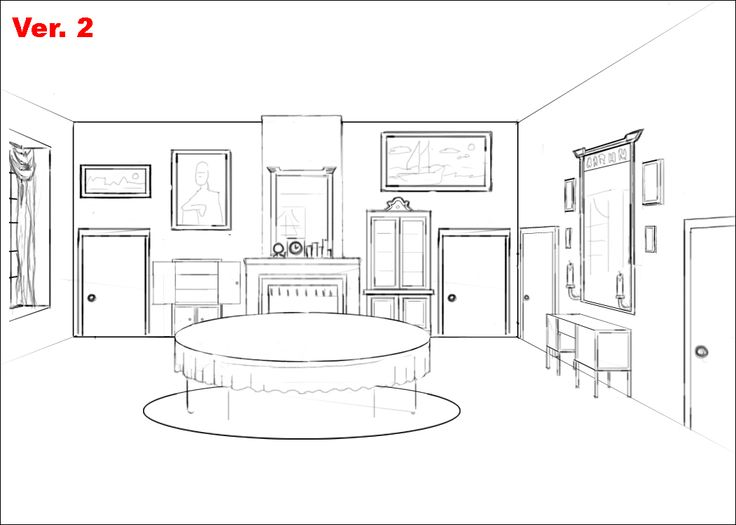 Bedroom perspective drawing sketch coloring page for Bedroom designs sketch