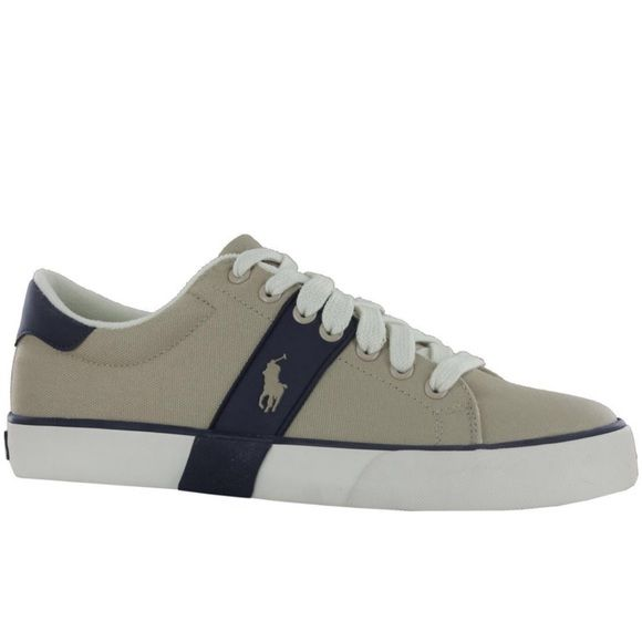 NEW!!!  POLO  Ralph Lauren MEN's Shoes NEW in the Original Box, POLO Ralph Lauren Burwood Khaki Men Trainers features canvas upper, lace up front with padded collar and overlay and logo details. Canvas upper - Soft fabric lining and cushioned insole - Rubber traction outsole! Polo by Ralph Lauren Shoes