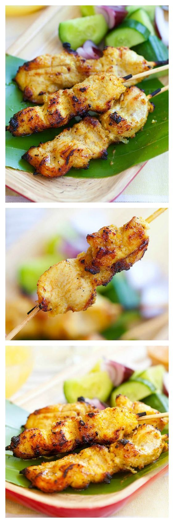 Chicken satay. The most amazing Chicken satay recipe with skewered marinated chicken and grilled ro perfection. Enjoy the end of summer grill with these chicken satay | rasamalaysia.com