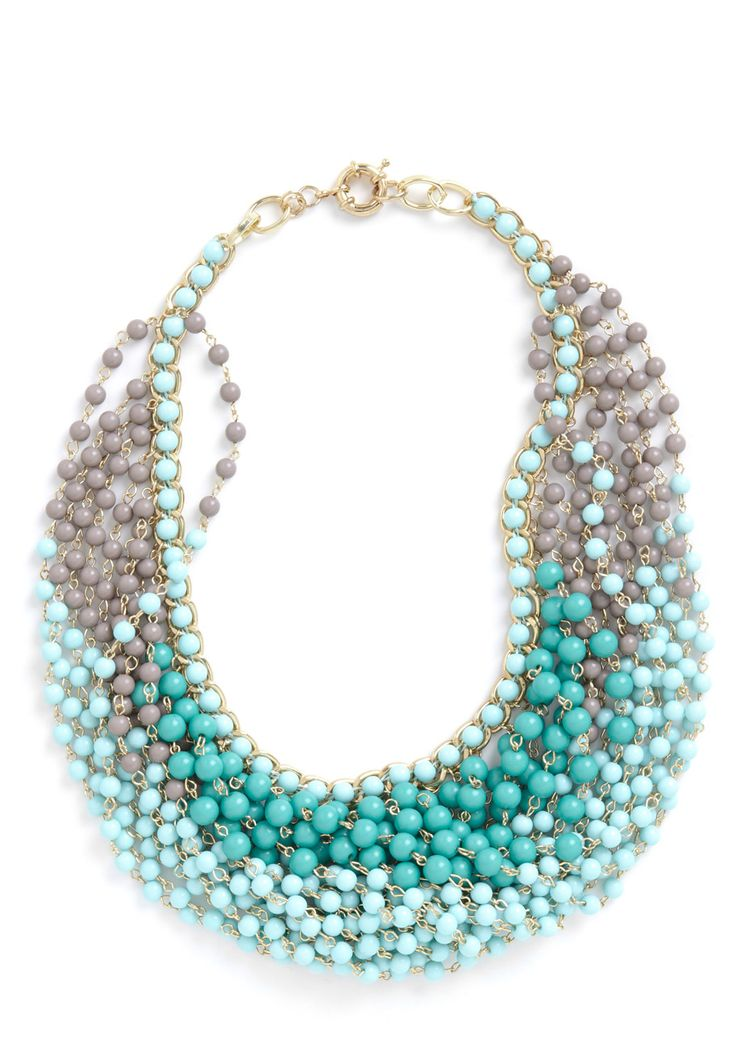 Statement of the Art Necklace in Sky - Green, Tan / Cream, Beads, Party, Luxe, Statement