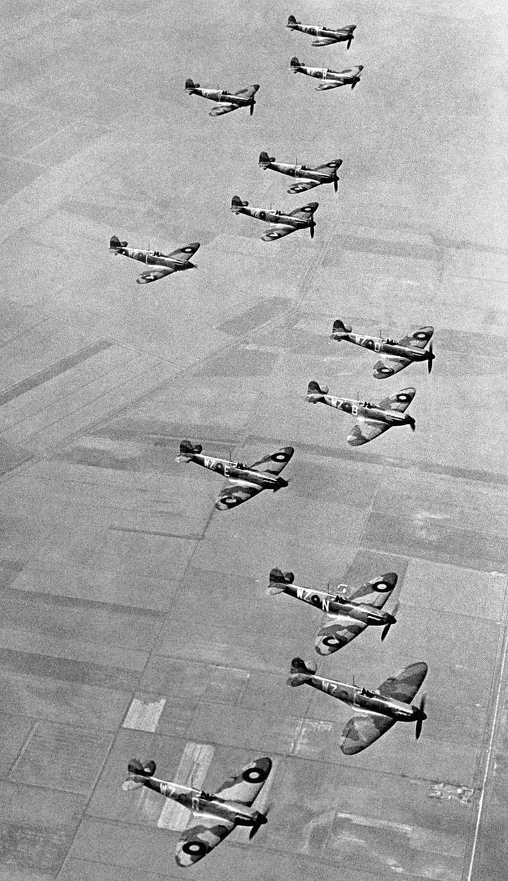 Supermarine Spitfires in the skies above England.