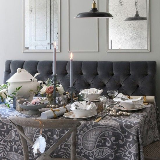 Design ideas decorating with festive metallics grey for Mirror ideas for dining room