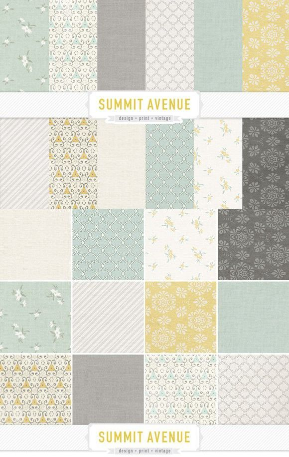 Vintage Mint Gold Gray Papers. Patterns. $6.00