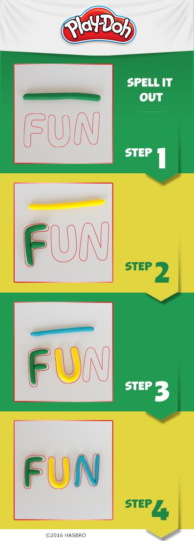 Practicing the alphabet is F-U-N when you use Play-Doh compound to help kids learn how to form letters and make simple words. Want a challenge? Have them try to spell their names! Enjoy going back to school with Play-Doh compound teaching tools and activities.
