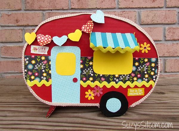 DIY Happy Camper Valentine Card Box. See more creative and fun DIY Valentine card boxes for kids on www.prettymyparty.com.