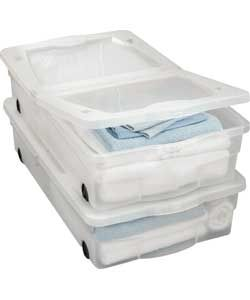 50 Litre Wheeled Plastic Underbed Storage Boxes - Set of 2.