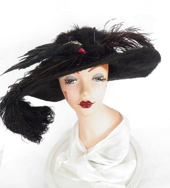 fe0b5ebca8f Victorian bird hat, antique vintage 1910, black, Titanic era, ostrich  feathers, Edwardian
