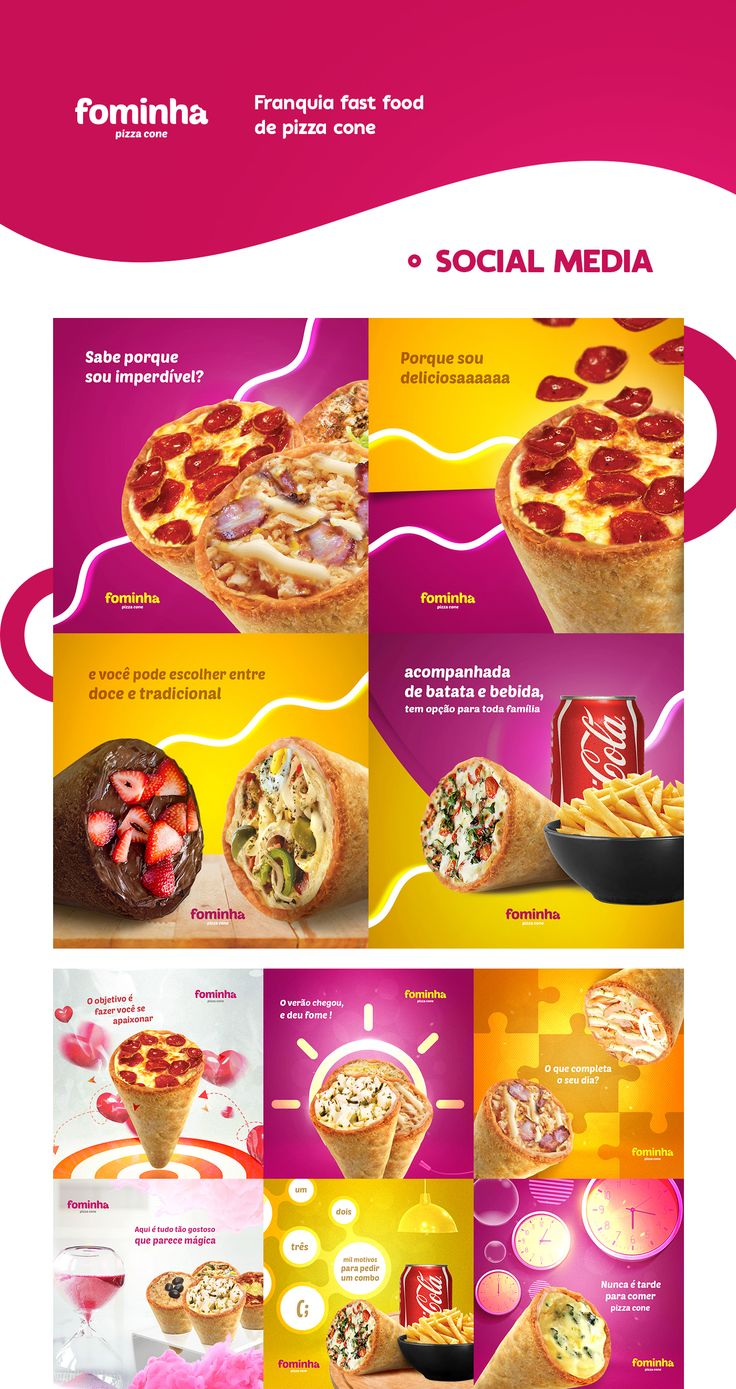 Visual identity and social media campaign's developed to Facebook Ads of a pizza fast food franchising company named Fominha Pizza Cone.