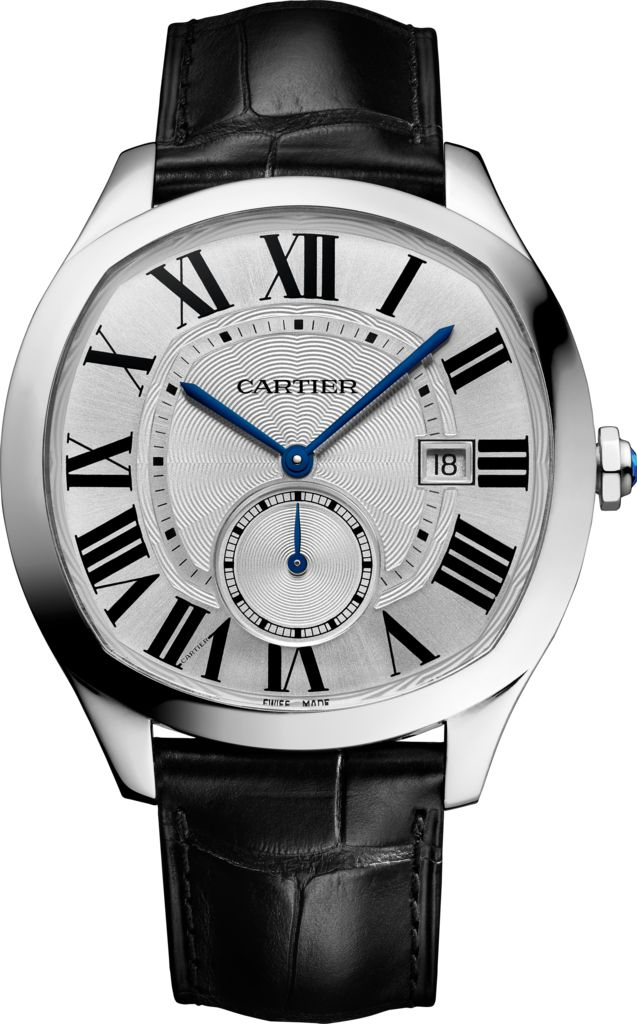 DRIVE DE CARTIER WATCH  Steel, leather REF : WSNM0004 Cartier's shaped watches have made their mark on history. Now, elegance is redefined with Drive de Cartier. Making a bold statement with its unique cushion-shaped case, the watch is brought to life by the in-house Cartier Manufacture Movement 1904 MC.