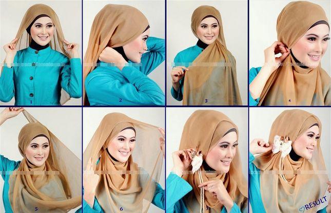 Contoh Gambar Tutorial Hijab Modern Dan Mudah | New Tutorial Hijab