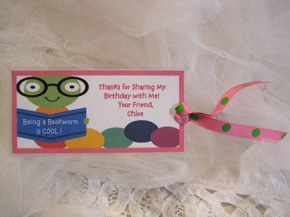 Reserve for 25 Personalized Bookworm Birthday Favors-