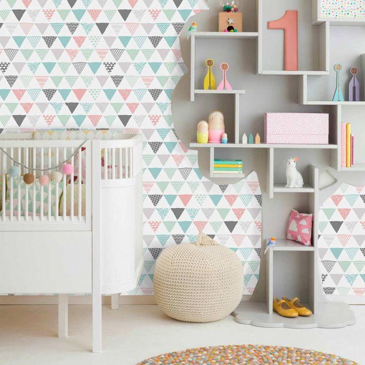 Papel de parede geométrico triângulos cinza, rosa, azul e verde 031