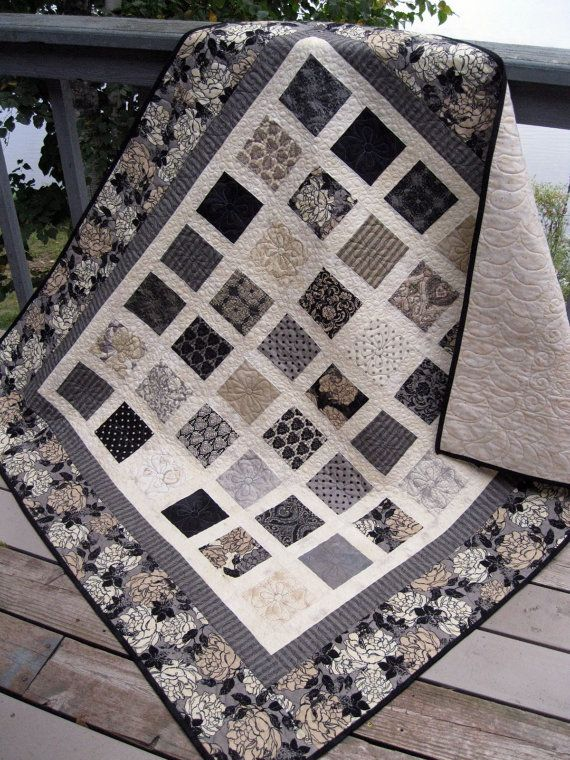 Reserved simply little black dress 54x60 quilt in black for Black white and gray quilt patterns