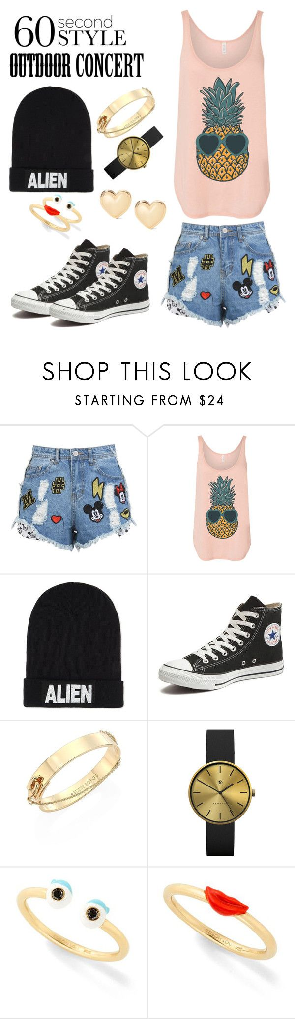 """""""60 Second Style: Outdoor Concerts"""" by windrasiregar on Polyvore featuring Nicopanda, Converse, Eddie Borgo, Newgate and Alison Lou"""