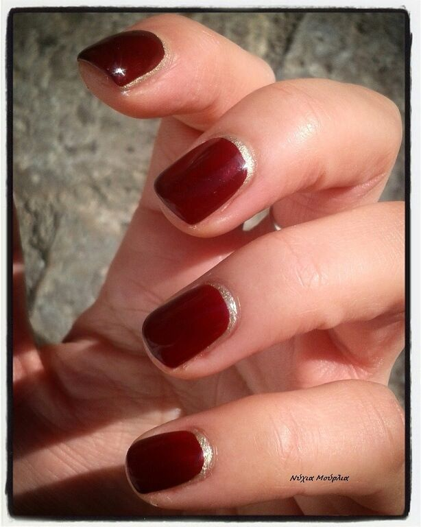 Manicure~reverse manicure~red nails~handmade nails