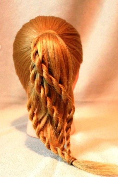 Rope-braided ponytail