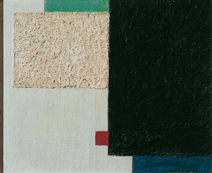 Constructivistisch V ~ Olieverf, zand en kit over potlood op karton ~ 17,6 x 21,4 cm. ~ Particuliere verzameling ~ © DACS, 2016