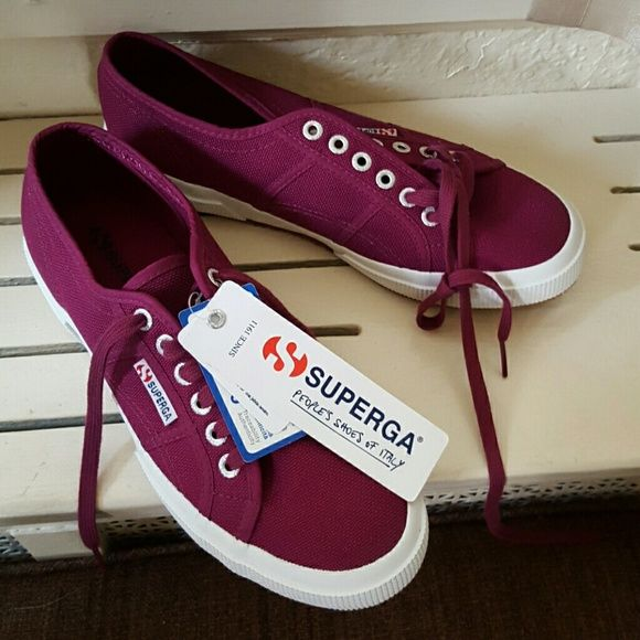 NWT Superga Sneakers 10 Host Pick party sale Brand new with tags. I am a little bit flexible but no lowballs,please.True to size. I would call the color a plum or burgundy.. Superga Shoes Sneakers