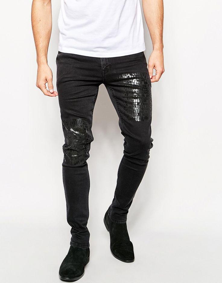 ASOS Super Skinny Jeans In Mock Croc Fabric