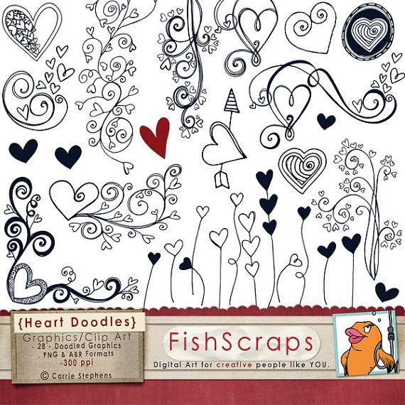 50 Sale Heart Doodle Clip Art Photoshop Brushes & by FishScraps, $2.88