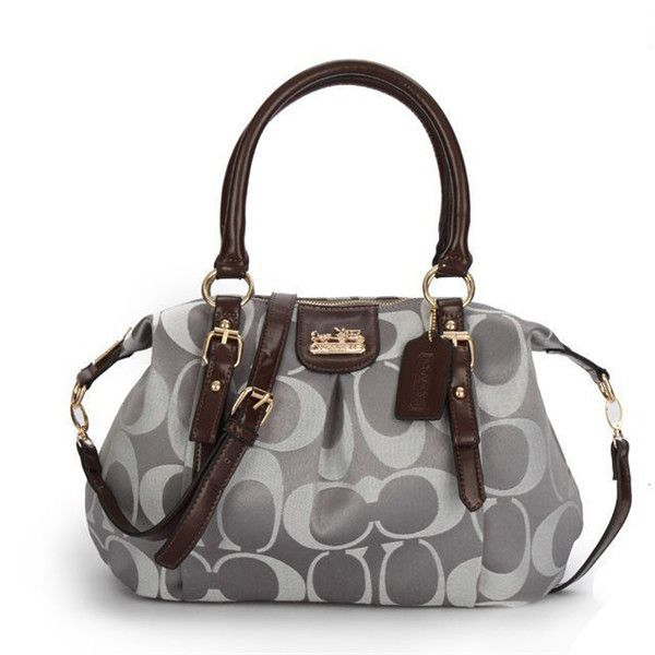 Coach Madison Kelsey In Signature Medium Grey Satchels ATM Can Match Your Any Clothes, Come Here To Buy One!