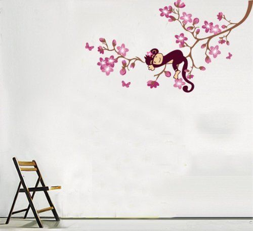 Tree Wall Decals: niceEshop(TM) Monkey sleeping Wall Decor Sticker Wall Decal for Kids/nursery from niceEshop. ............ Get Wall Decals at Amazon from Wall Decals Quotes Store