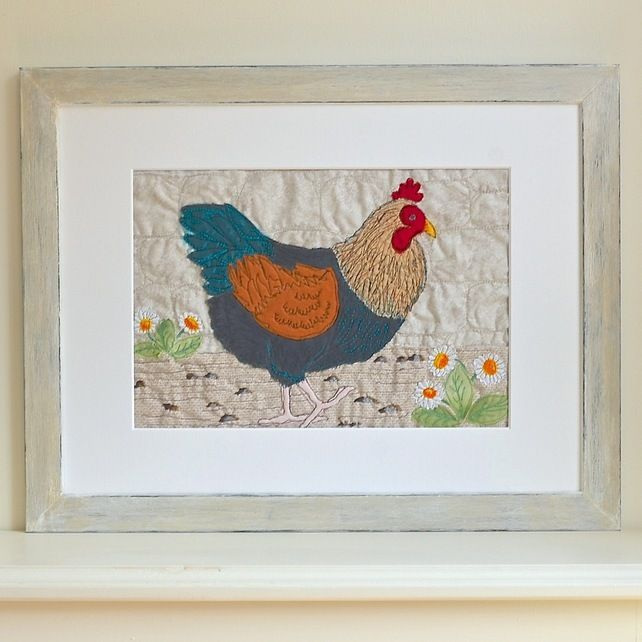 Embroidered Chicken picture - Black Copper Maran - Poultry Hen Bird textile art £125.00