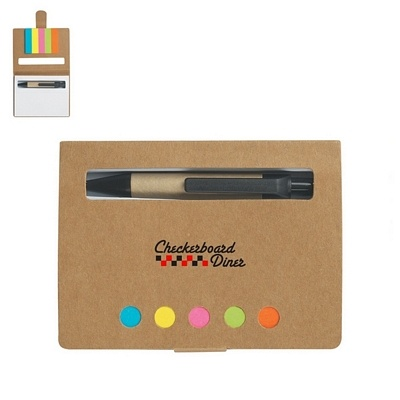 Promotional Eco-Friendly Memo Case With Sticky Flags & Pen