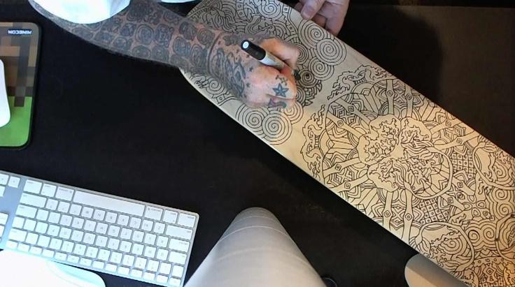 Joshua Davis, live drawing custom #skateboard deck, http ...