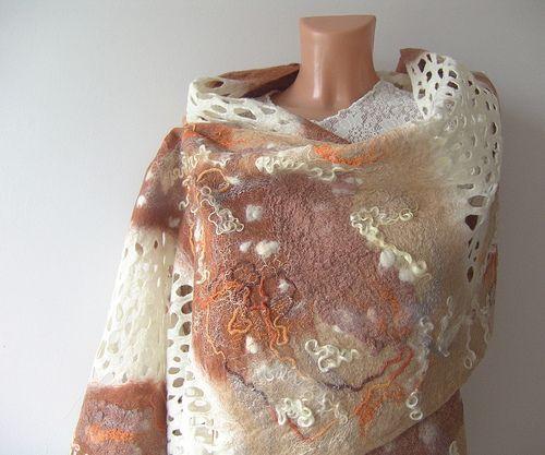 Nuno felted scarf - Beige White