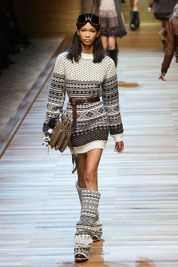 "This look is from the Dolce and Gabbana Winter 2010 collection. It features a patterned sweater, which became very popular during WWII, and were known as ""sloppy joes."""